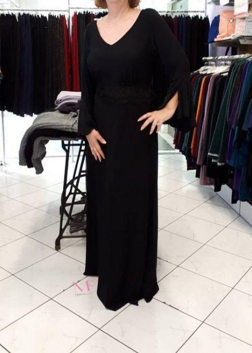 19-20665 Φόρεμα μονόχρωμο maxi s.jersey με V- λαιμόκοψη