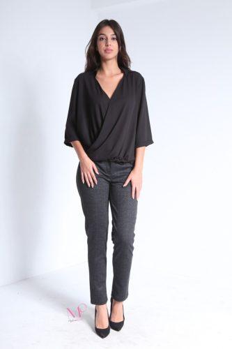 19-89074 Μαύρο Μπλούζα κρουαζέ μονόχρωμη