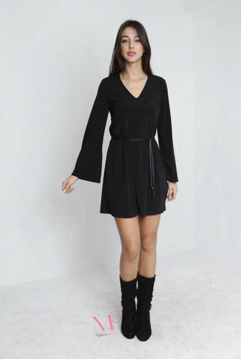 19-69535 Φόρεμα midi βισκόζ V λαιμόκοψη