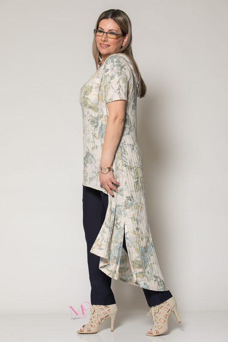 Κ19-102 Σιέλ Floral Γιλέκο μακρύ με κουκούλα
