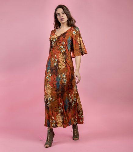 Κ19-20283 Φόρεμα εμπριμέ s.jersey με V-λαιμόκοψη