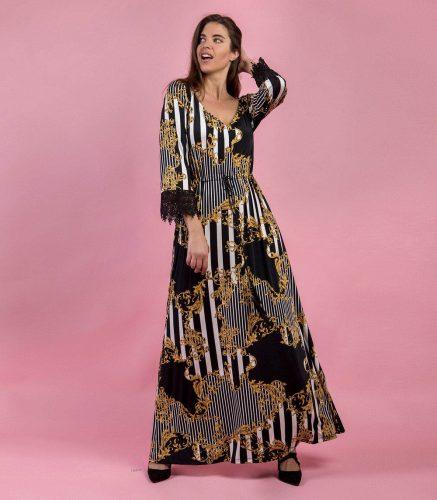 Κ19-20397 Εμπριμέ Φόρεμα maxi s.jersey με V-λαιμόκοψη