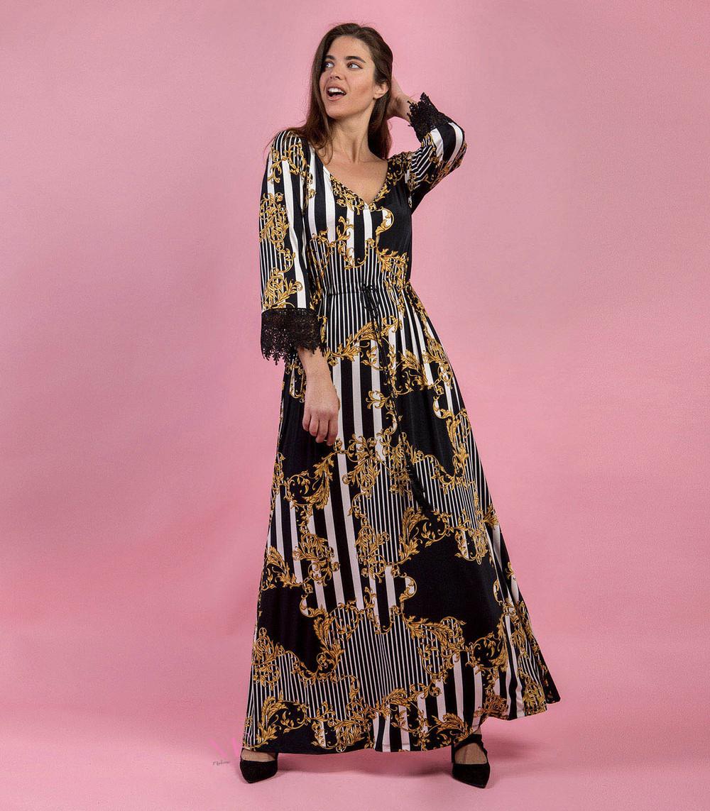 fafa4ed23f50 Φόρεμα maxi εμπριμέ s.jersey με V-λαιμόκοψη - Modernoraptiki