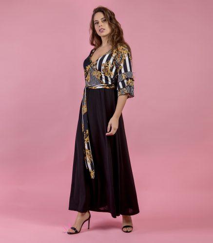 Κ19-20418 Φόρεμα maxi σε άλφα γραμμή με εμπριμέ κρουαζέ μπούστο