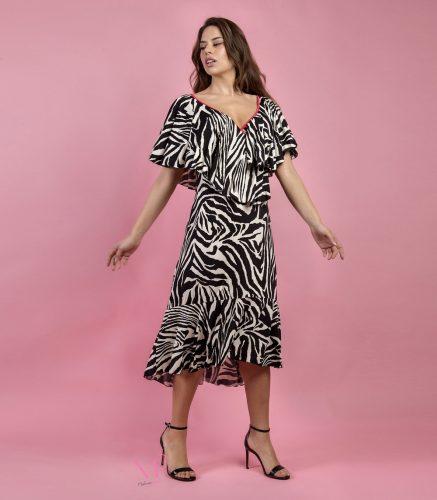 Κ19-20607 Ζέβρα/Ασπρόμαυρο Φόρεμα midi jersey ασύμμετρο με κρουαζέ μπούστο