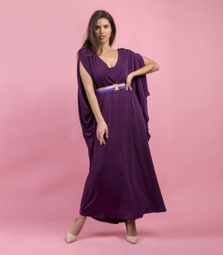 Κ19-20699 Μωβ Φόρεμα maxi baggie style σε κόψιμο νυχτερίδα με V-λαιμόκοψη