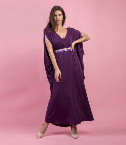 b0452f048a28 Κ19-20699 Φόρεμα maxi baggie style σε κόψιμο νυχτερίδα με V-λαιμόκοψη