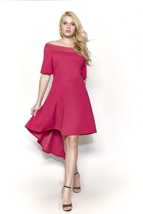 Κ19-20703 Φούξια Φόρεμα Midi ασύμμετρο με ανοιχτή ελαστική λαιμόκοψη