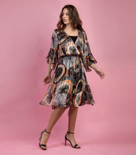 Κ19-20707 Φόρεμα midi με λούρεξ, με κρουαζέ μπούστο