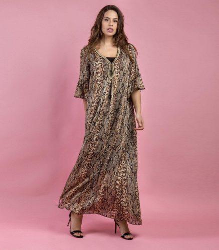 Κ19-20714 Φόρεμα maxi με τύπωμα φίδι και V-λαιμόκοψη