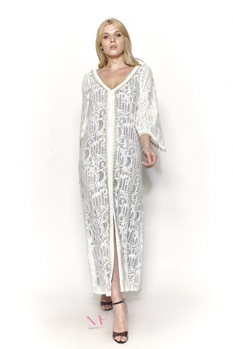 Κ19-50482 Λευκό Φόρεμα από δαντέλα με ενσωματωμένη φόδρα