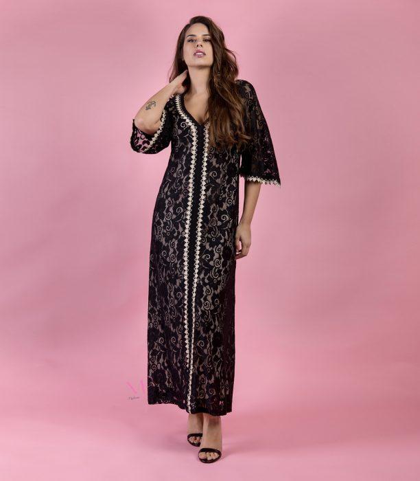 Κ19-50482 Φόρεμα από δαντέλα με ενσωματωμένη φόδρα