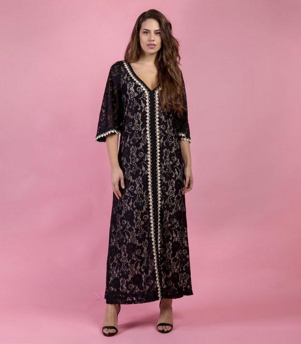 Κ19-50482 Μαύρο Φόρεμα από δαντέλα με ενσωματωμένη φόδρα