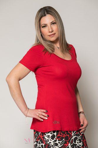 Κ19-90619 Κόκκινη Μπλούζα μονόχρωμη λαιμόκοψη