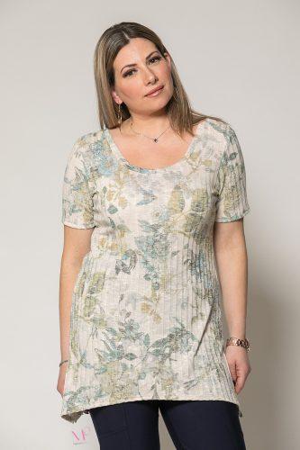 Κ19-91019 Σιέλ Floral Μπλούζα ασύμμετρη