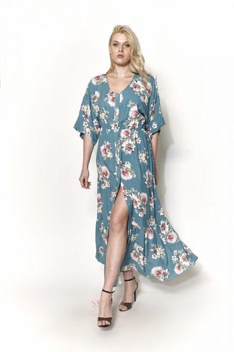 Κ19-20725 Πετρόλ Φόρεμα σεμιζέ σε voile ύφασμα, εβαζέ γραμμή