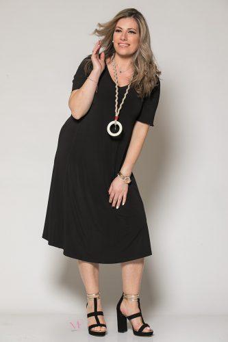 Κ19-60019 Μαύρο Φόρεμα με κολιέ