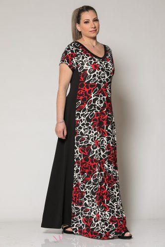 Κ19-60419 Φόρεμα maxi εμπριμέ με μονόχρωμη πλάτη