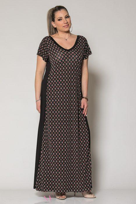 Κ19-60619 Φόρεμα maxi κομποζέ γεωμετρικό Μαύρο