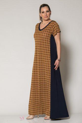Κ19-60619 Μπλε Φόρεμα maxi κομποζέ γεωμετρικό μπλε