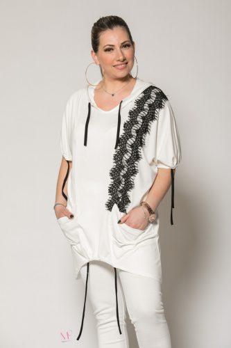Κ19-90219 Λευκό Μπλούζα με κουκούλα,και τσέπες με τρέσα