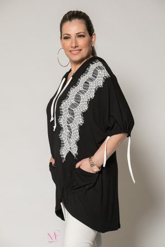 Κ19-90219 Μαύρη Μπλούζα με κουκούλα και τσέπες με τρέσα