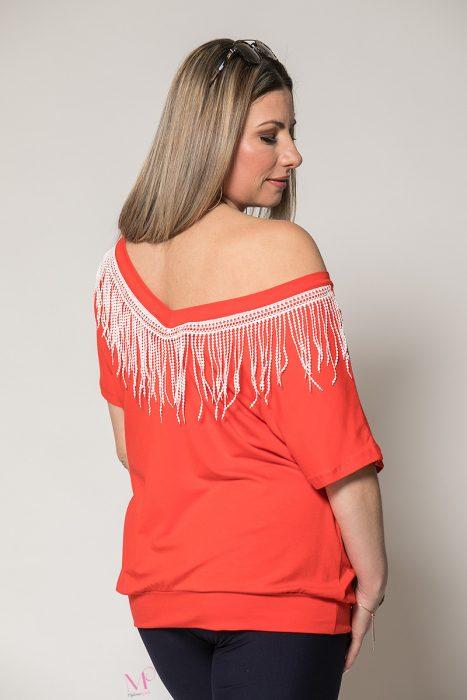 Κ19-91319 Κοραλοκόκκινο Μπλούζα με μπάσκα και τρέσα πίσω