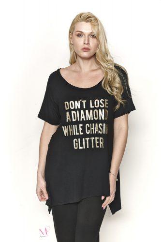 """Κ19-17207 Μαύρη Μπλούζα βισκόζ με τύπωμα """"DON'T LOSE A DIAMOND"""" και στρογγυλή λαιμόκοψη"""