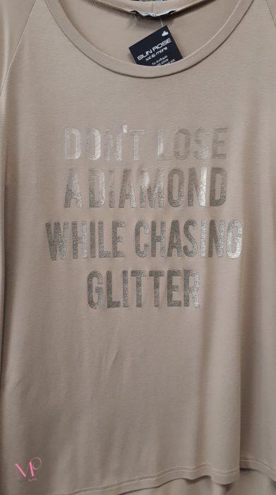 """Κ19-17207 Μπεζ Μπλούζα βισκόζ με τύπωμα """"DON'T LOSE A DIAMOND"""" και στρογγυλή λαιμόκοψη"""
