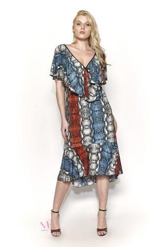 Κ19-20607 Print Φίδη Φόρεμα midi jersey ασύμμετρο με κρουαζέ μπούστο