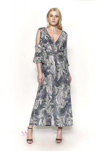Κ19/20729 Φόρεμα ζέρσει με V-λαιμόκοψη και ανοιχτούς ώμους.