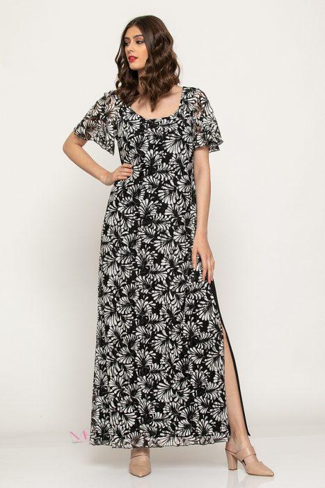 Κ19-60219 Φόρεμα maxi δαντέλα κοντά μανίκια