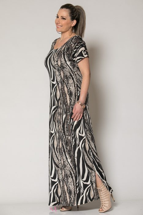 Κ19-60519 Φόρεμα maxi animal print