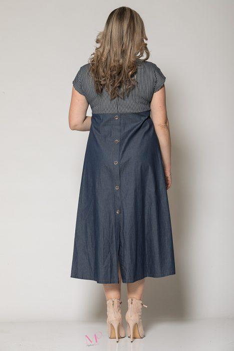 Κ19-60719 Φόρεμα midi τζιν με ριγα & κουμπιά