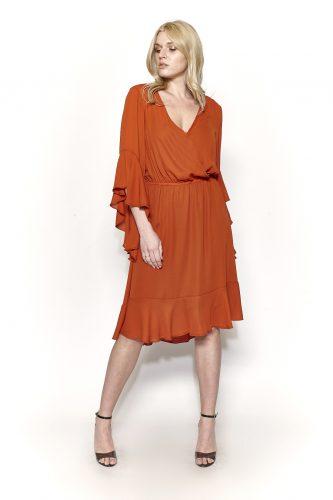 Κ19-20732 Κεραμιδί Φόρεμα midi ζορζέτα με κρουαζέ μπούστο