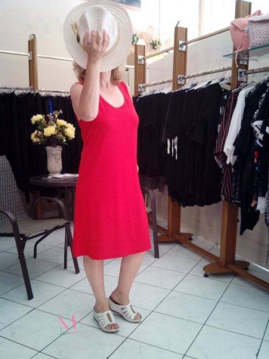 Κ19-11093 Κόκκινο Φόρεμα αμάνικο midi