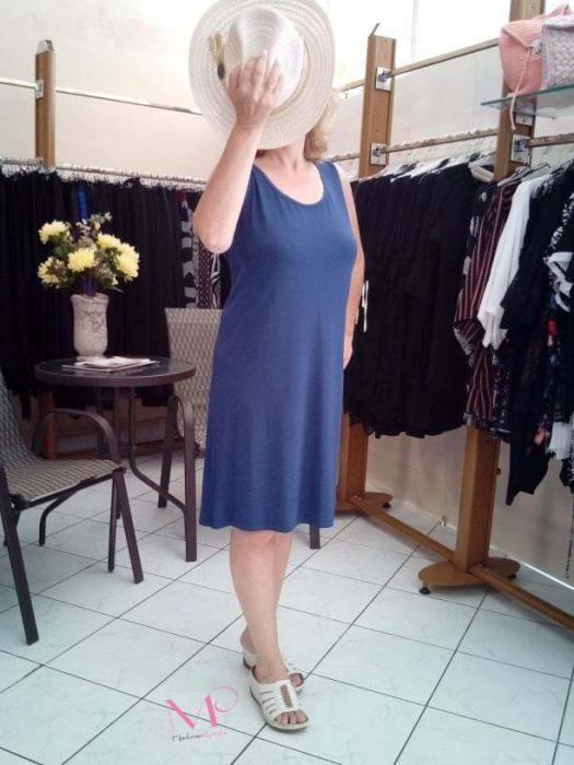 Κ19-11093 Indigo Φόρεμα αμάνικο midi