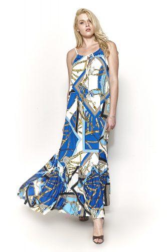 Κ19-20731 Ίντιγκο Φόρεμα αμάνικο ζέρσεϊ με δέσιμο κορδόνι στην λαιμόκοψη