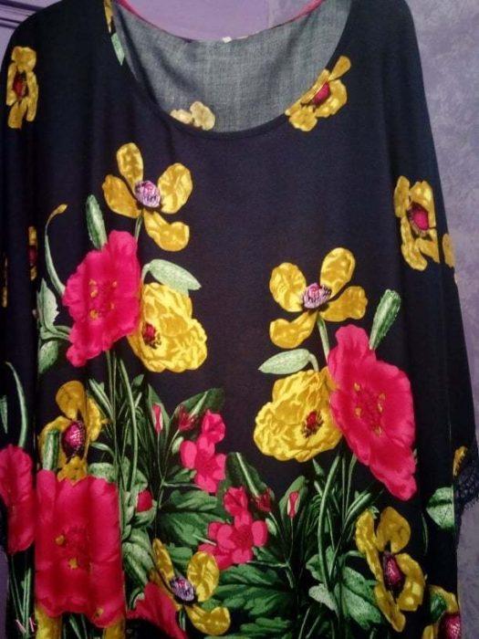 Κ19-50374 ΜΠΛΕ Τουνίκ Floral με δαντέλα λεπτομέρειες στο τελείωμα