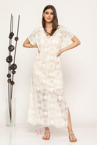 """Κ19-61619 Εκρου Φόρεμα maxi από δαντέλα με σχέδιο """"κύκλοι"""""""