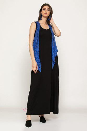 Κ19-61719 Φόρεμα maxi μονόχρωμο με μπολερό δίχτυ
