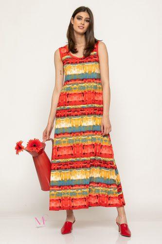 Κ19-62019 Φόρεμα maxi μαγιόπανο -''ρίγες''