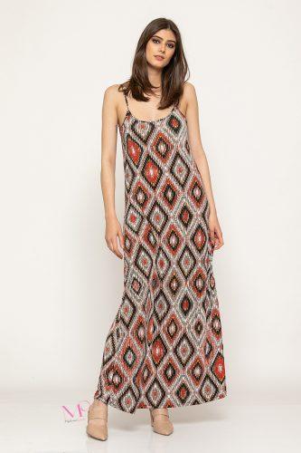 Κ19-62219 Φόρεμα maxi μαγιόπανο ''ρόμβοι''
