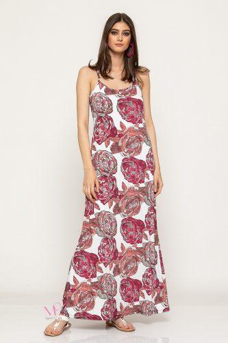 Κ19-62319 Κόκκινο Φόρεμα maxi μαγιόπανο εμπριμέ ''τριαντάφυλλα''