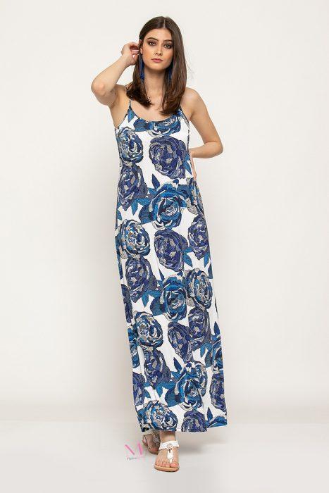Κ19-62319 Μπλε Φόρεμα maxi μαγιόπανο εμπριμέ ''τριαντάφυλλα''