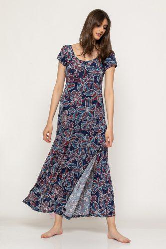 Κ19-62419 Κόκκινο Φόρεμα maxi εμπριμέ με μανίκι