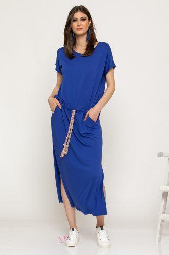 Κ19-62819 Ρουά Φόρεμα maxi Casual μονόχρωμο με κορδόνι ρυθμιζόμενο στη μέση