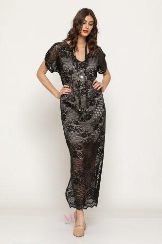 Κ19-62919 Μαύρο-Μπεζ Φόρεμα maxi από δαντέλα με ενσωματωμένη φόδρα