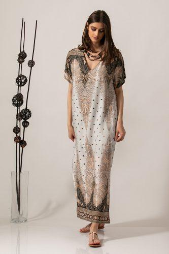 Κ19-63219 Φόρεμα - καφτάνι maxi μπορντούρα