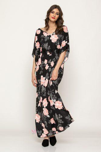 Κ19-63419 Φόρεμα maxi εμπριμέ μαγιόπανο με λάστιχο στη μέση